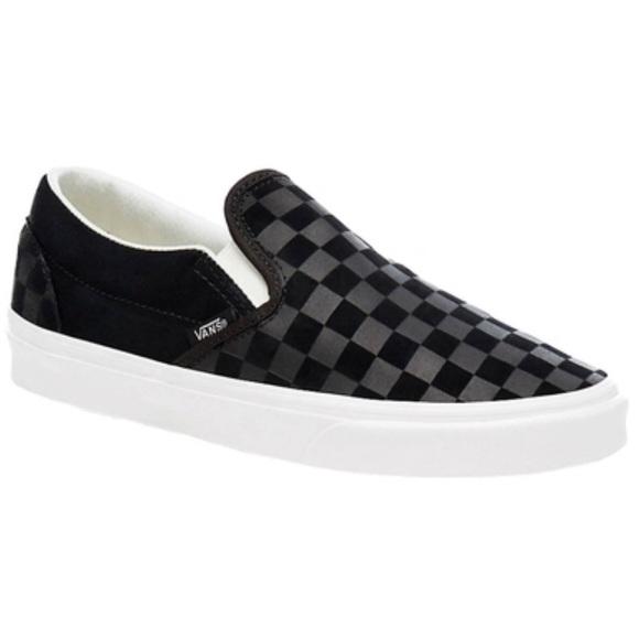 2bcddf08af Vans slip on canvas suede checker sneaker shoe blk